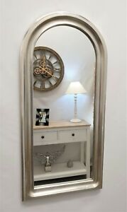 Arch Design Classic Wall Mirror French Decorative Vanity Bathroom 70x33cm Silver