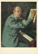 Portrait Of Sergei Prokofiev War & Peace I.Grabar Soviet Vintage Art Postcard