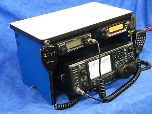 Scanner Radio Bench Mount Rack Stack or Holder Kenwood Yaesu Icom Mike Antenna