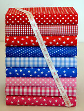 POLY COTTON FABRIC BUNDLE 25cm SQUARE REMNANTS GINGHAM SPOTS STAR RED BLUE PINK