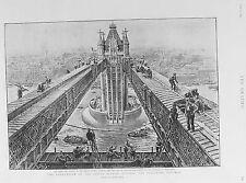 Antiguo Viejo impresión London Tower Bridge c1894 terminación obreros constructores Thames