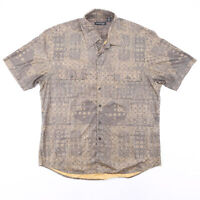 Vintage KENNETH COLE  Green 00s Short Sleeve Crazy Print Shirt Mens 2XL