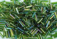 TOHO Bugle Tube Glass Beads Size #2 (6mm) # 180-Trans-Rainbow Olivine 15 grams
