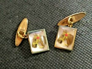 Old rare beautifull goldplated Cufflinks with  relieved Horse head handpainted