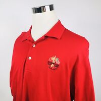 Ralph Lauren Mens Large Polo Golf Shirt Red Crested Ryder Cup K Club Red Cotton