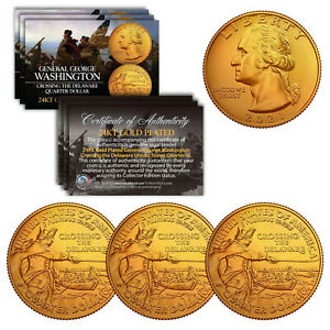 2021 Washington Crossing the Delaware Quarter Genuine Coin 24K GOLD PLATED QTY 3