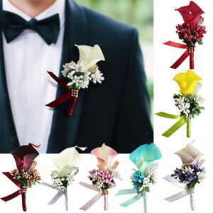 Bride Groom Boutonniere Calla Corsage Artificial Silk Wrist Flower Pin Brooch