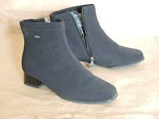 ARA Women's Stretch Socks Black Ankle Zip Boots Real Lambskin Fur Lining UK 5/38
