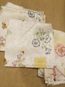 NEW Lenox Butterfly Meadow Cloth Napkins Set of 6, Cotton/Poly Blend +free bonus