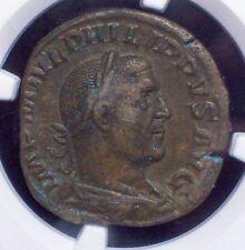 NGC Ancient ROMAN EMPIRE 244-249 AD Philip I AE Sesterius Annona Ch XF 4/5 Grade