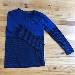 Boys Long Sleeve Blue T Shirt By Hurley W/ Nike Dri-Fit Size XL (13-15 YRS)
