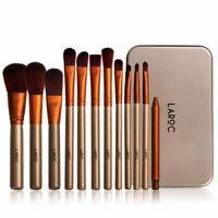 LaRoc 12pc Travel Makeup Brush Set Kit Cosmetic Foundation Blush in Metal Case