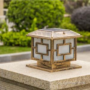 LED Solar Powered Square Acrylic Metal Lantern Garden Pillar Lights Gate Post