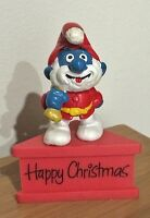 SMURFS - VINTAGE SMURF on STAND ... PAPA HAPPY CHRISTMAS 1981 PEYO HK