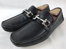 Salvatore Ferragamo Black Parigi Gancio Bit Leather Driver Loafer Shoe 8 D