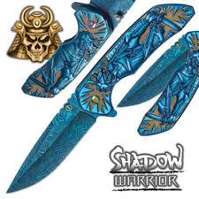 "8"" Warrior Samurai Spring Assisted Open Folding Pocket Knife Damascus Fantasy"
