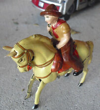 """RARE Vintage 1950s Kohler US Zone Germany Windup Horse and Cowboy 3"""" Tall"""