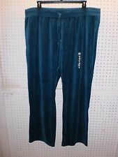 MADE FOR LIFE Woman's PLUS 1X Teal Blue Velour Pull-On Pants FREE Shpg NWTA