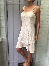 Cream Lace 90s layered dress 12 Italian spaghetti straps grunge wedding slip