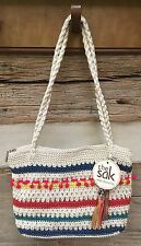 THE SAK Hand-Crocheted Casual Classics Shoulder Bag GLOBAL MULTI STRIPES  New!