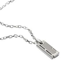 Fossil Herren-Halskette JF84466040 Edelstahl Silber Dog-Tag Anhänger 50 cm