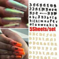 English Letter Nail Art Sticker 3D Transfer Decals Manicure Decor Adhesive Tips
