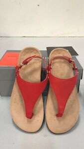 Vionic Orthaheel REST KIRRA Leather T Strap Sandals Red Cherry 8.5 Wide NIB