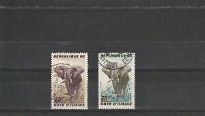 Ivory Coast   1959  Elephants  2 Values Used  Hinged   scan 1742