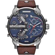 Diesel DZ7314 Mr Daddy 2.0 Leather Strap 57mm Case Blue Dial Men's Chrono Watch