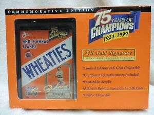 Lou Gehrig Wheaties 75th 24K Gold Signature Mini Box Collectible