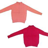 New Girls Zipped Cardigan Knitted Gilet Top Jumper Sweater Zipper Shrug 2-12y #7