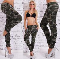Women's Camouflage Harem Denim Jeans Studded Spike Zippers - XS / S / M / L / XL