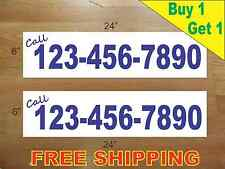 """CUSTOM PHONE NUMBER # BLUE Text 6""""x24"""" REAL ESTATE RIDER SIGNS Buy 1 Get 1 FREE"""