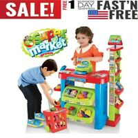 Kids Simulation Supermarket Console Workbench Playset Toys With Lights & Sounds