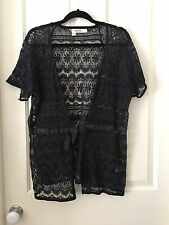 Aero Navy Lace  Long Shrug With Ribbon Tie Size 16