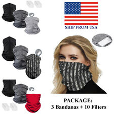 3PCS Face Scarf Neck Gaiter Bandana Outdoor Face Cover Dust Mouth filters carbon