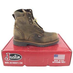 "Justin J-Max Leather Work Boots 441 Blueprint Tan Gaucho 8"" Mens Size 13 B New"