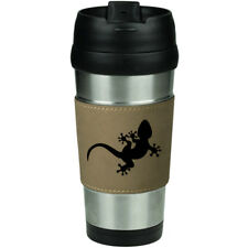 Leather & Stainless Steel 16 oz Insulated Travel Mug Cup Gecko Lizard