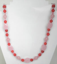 "Pink quartz bead necklace with gold plated clasp Approx. 21"" or 54cm"
