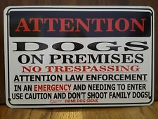 "Metal Attention Dogs Sign For Fence ,Beware Of Dog 8""x12"" Warning"