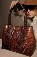 ❤BRAHMIN ANYTIME TOTE PECAN MELBOURNE BROWN CROC EMB LEATHER SHOPPER SHOULDER❤
