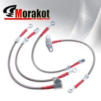 00-04 S2000 AP1 F20C Stainless Steel Front /& Rear Oil Brake Line Kit Silver//Red