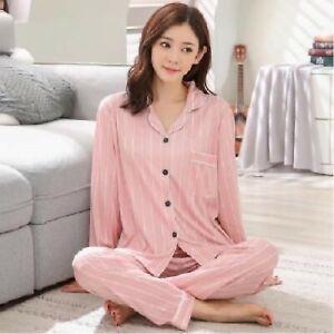 Ladies Women Pyjamas Set Long Sleeve Night wear Lounge Wear Pajamas Pjs Sleep D1