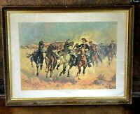 Vintage Frederic Remington 1890 Framed Print of 4TH CAVALRY TROOPERS DISMOUNTED
