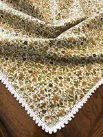 "Vintage Small Tablecloth Fall Leaves Motif Crocheted Edge 35""sq"