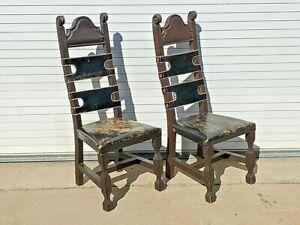 (2) Frailera / Monk Chairs ~ Spanish Renaissance ~ SPANISH COLONIAL CHAIRS