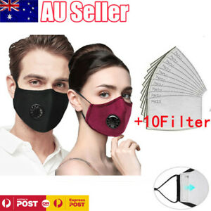 Washable Reusable PM2.5 Anti Dust Air Pollution Face Mask Shield +10 Filters AU