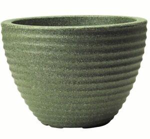 Stewart 30L Low Honey Pot Decorative Plastic Planter - Marble Green 49cm dia