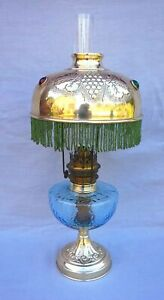 French Brass Oil Kerosene Lamp With Beaded Colored Stone Shade 1900's