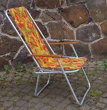 kultiger Liegestuhl, Alu-Gartenstuhl der 70er Jahre m. retro Blumenmuster